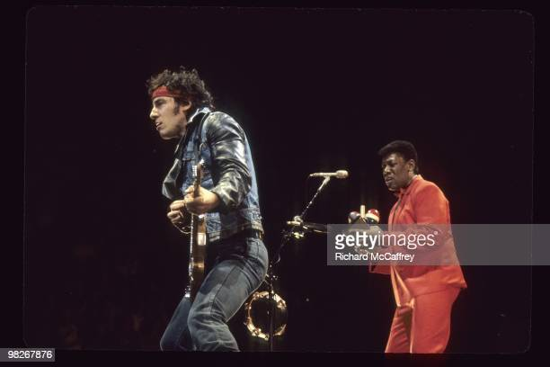Bruce Springsteen and Clarence Clemons perform live with The E Street Band at The Oakland Coliseum in 1984 in Oakland California