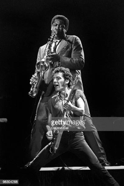 Bruce Springsteen and Clarence Clemons performing with the E Street Band at the Oakland Coliseum on October 28 1980