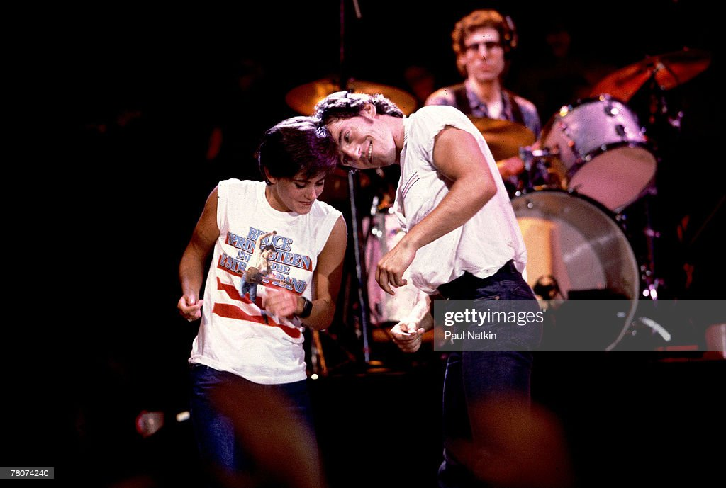 Bruce Springsteen and Courteney Cox at the filming of the video for Dancing in the Dark on 6/27/84 in Minneapolis Mn