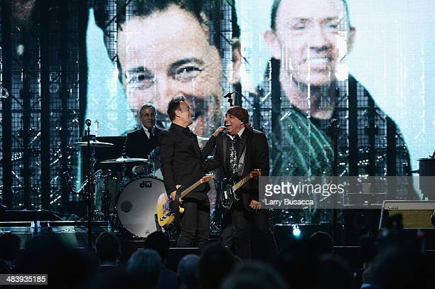 Bruce Springsteen and inductees Max Weinberg and Steven Van Zandt of the E Street Band perform onstage at the 29th Annual Rock And Roll Hall Of Fame...