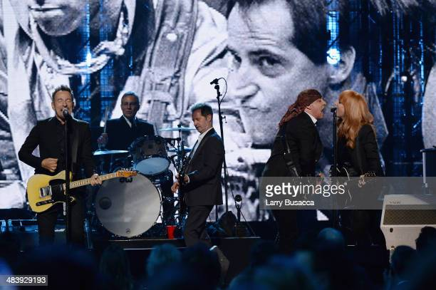 Bruce Springsteen and inductees Max Weinberg Garry Tallent Steven Van Zandt and Patti Scialfa of the E Street Band perform onstage at the 29th Annual...