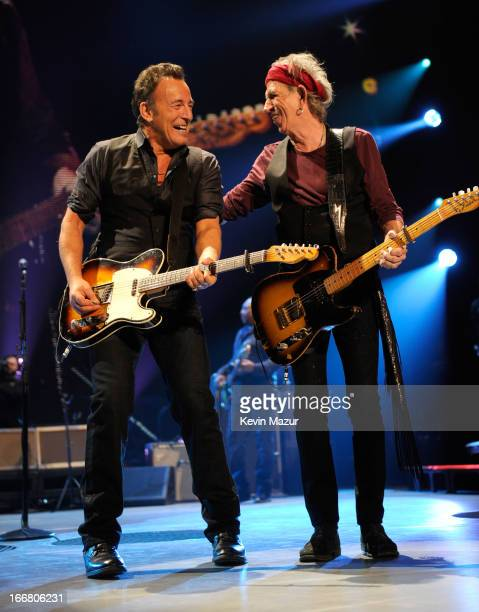 Bruce Springsteen and Keith Richards of The Rolling Stones performs at the Prudential Center on December 15 2012 in Newark New Jersey The Rolling...