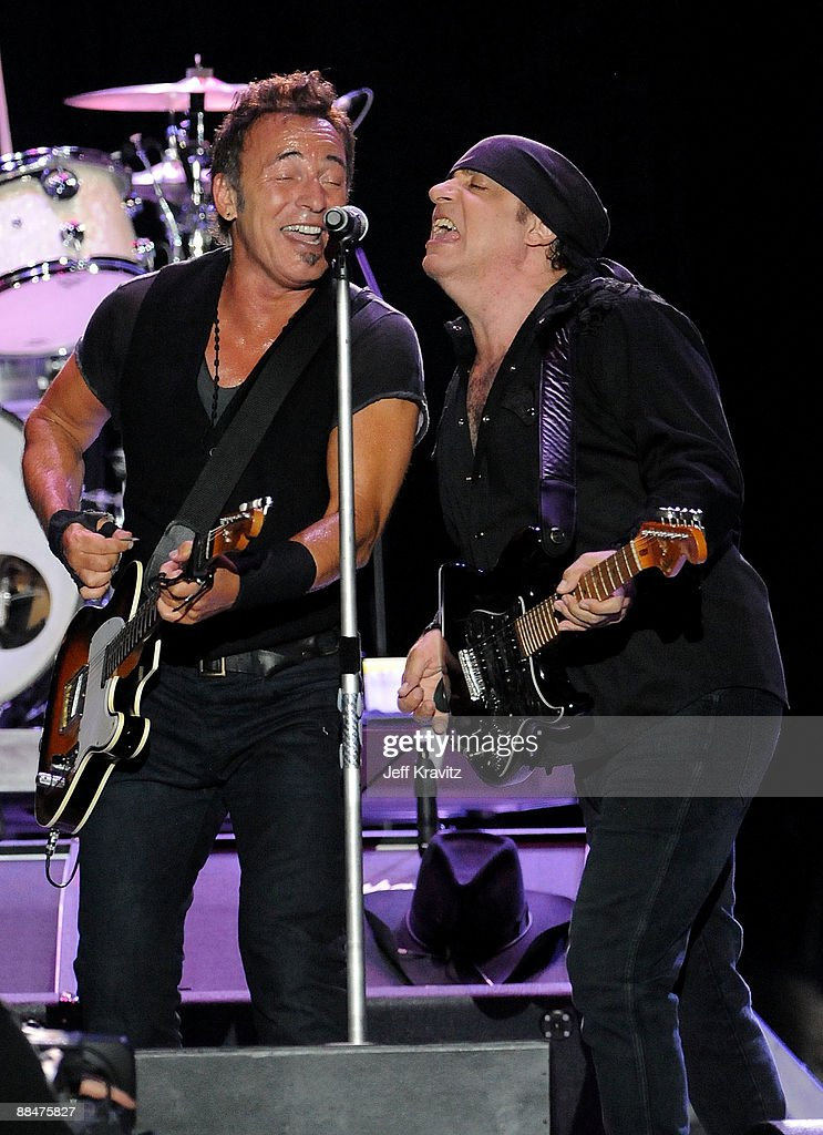 Bruce Springsteen and Little Steven Van Zandt of the E Street Band perform on stage during Bonnaroo 2009 on June 13, 2009 in Manchester, Tennessee.