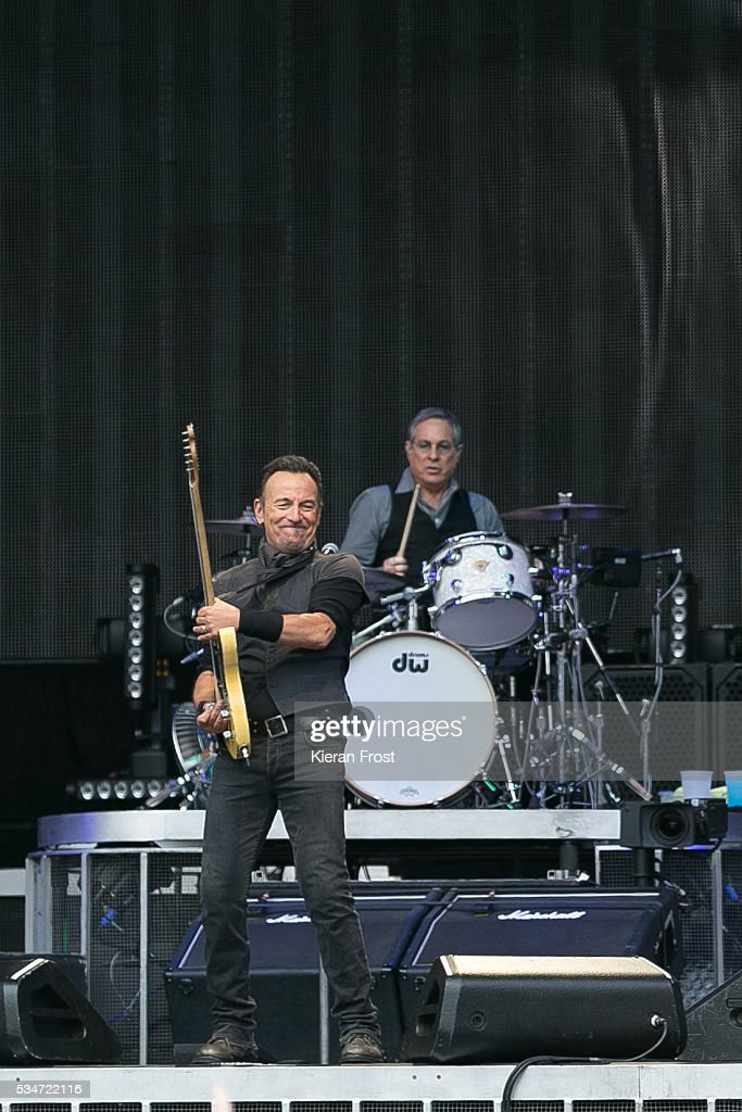 Bruce Springsteen and Max Weinberg performs with the E Street Band at Croke Park Stadium on May 27, 2016 in Dublin, Ireland.
