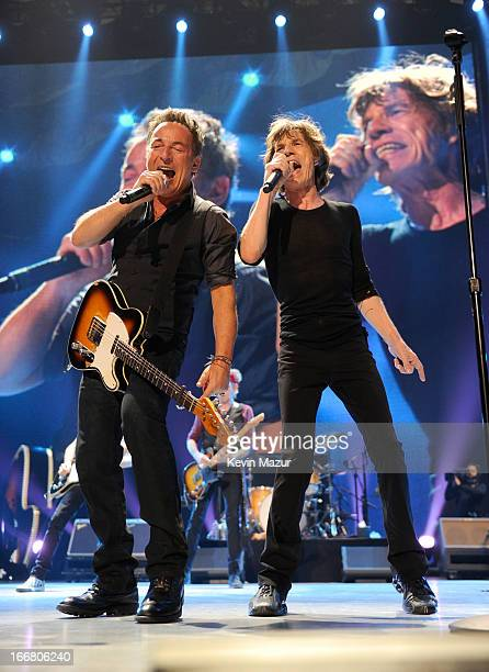 Bruce Springsteen and Mick Jagger of The Rolling Stones perform at the Prudential Center on December 15 2012 in Newark New Jersey The Rolling Stones...