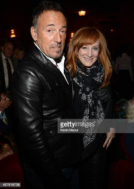 Bruce Springsteen and Patti Scialfa attend 'The Last Ship' broadway opening night at Neil Simon Theatre on October 26 2014 in New York City