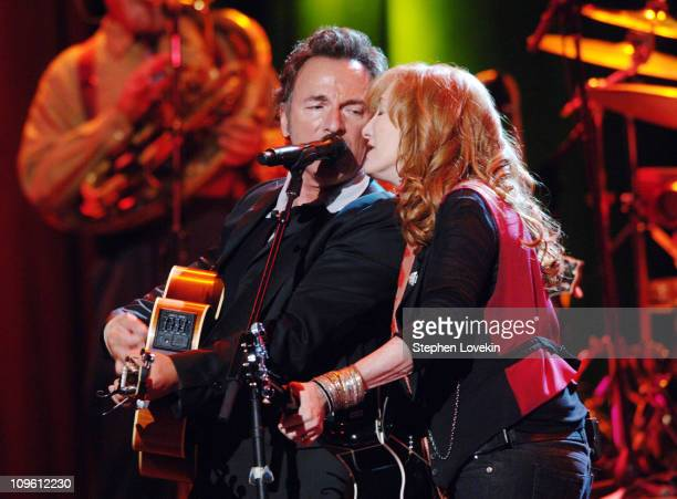 Bruce Springsteen and Patti Scialfa during Bruce Springsteen with The Seeger Sessions Band at Madison Square Garden June 22 2006 at Madison Square...