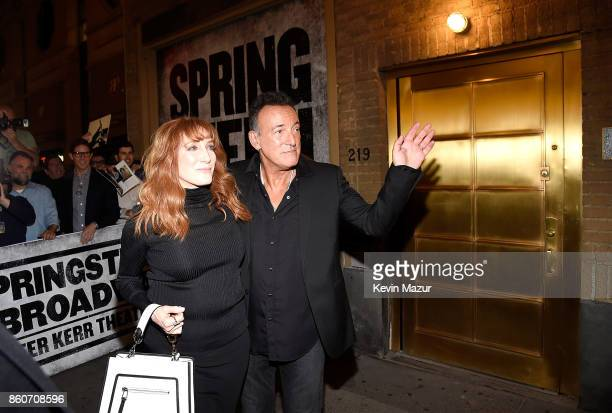 Bruce Springsteen and Patti Scialfa pose outside after 'Springsteen On Broadway' at Walter Kerr Theatre on October 12 2017 in New York City