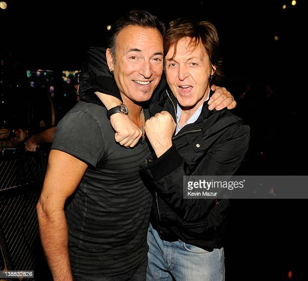 Bruce Springsteen and Sir Paul McCartney backstage at The 54th Annual GRAMMY Awards at Staples Center on February 12 2012 in Los Angeles California