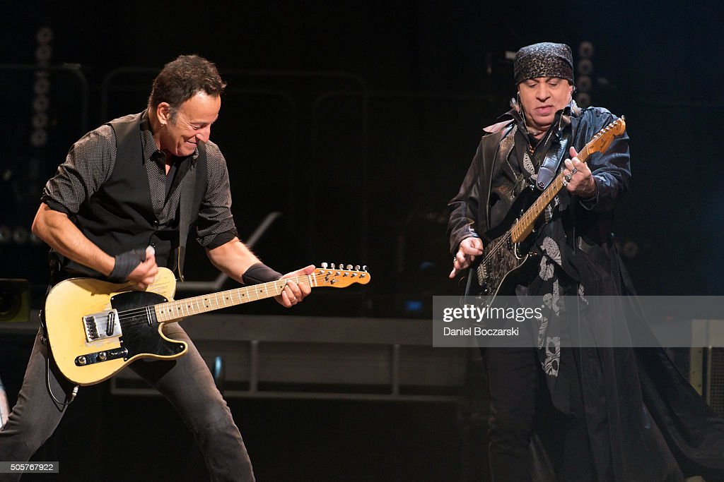 Bruce Springsteen and Steven Van Zandt of Bruce Springsteen And The E Street Band perform during The River Tour 2016 at United Center on January 19, 2016 in Chicago, Illinois.
