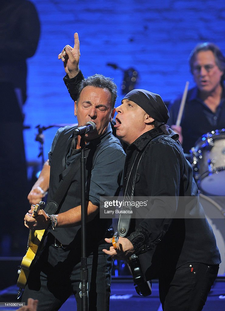 Bruce Springsteen and Steven Van Zandt perform during SiriusXM's concert celebrating 10 years of satellite radio at The Apollo Theater on March 9...