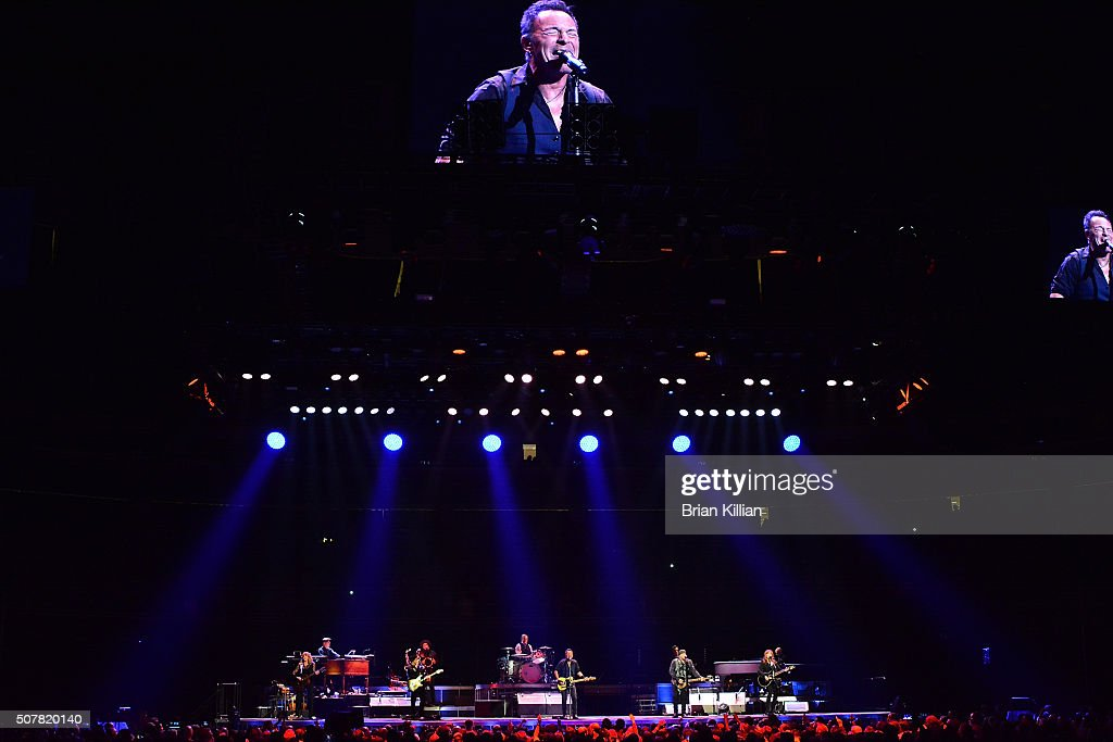 Bruce Springsteen And The E Street Band; Charles Giordano, Soozie Tyrell, Jake Clemmons, Nils Lofgren Max Weinberg, Bruce Springsteen, Steven Van Zandt, Garry Tallent, Patti Scialfa, and Roy Bittan perform at Prudential Center in Newark, NJ on January 31, 2016 in Newark City.
