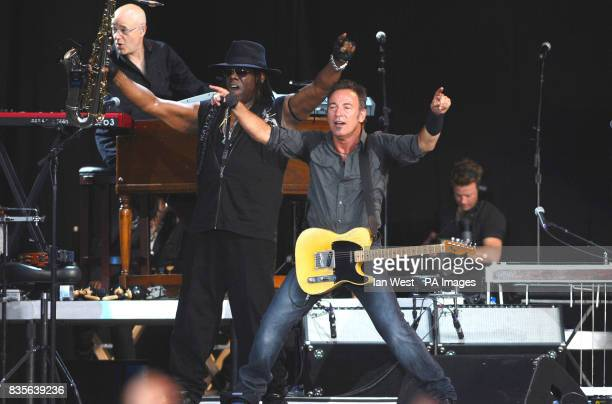 Bruce Springsteen and the E Street Band on stage at Hard Rock Calling in Hyde Park in London