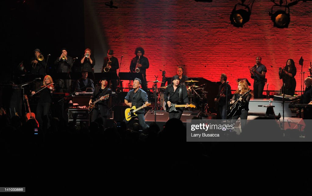 Bruce Springsteen and the E Street Band perform during SiriusXM's concert celebrating 10 years of satellite radio at The Apollo Theater on March 9...