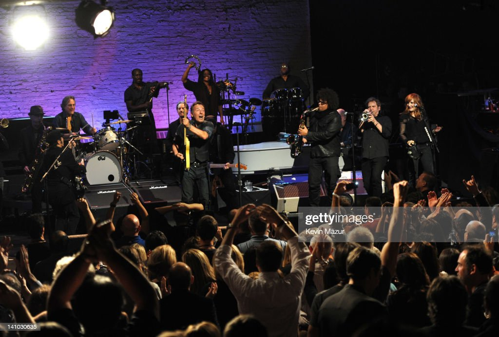 Bruce Springsteen and the E Street Band perform during SiriusXM's celebration of 10 years of satellite radio with a concert by Bruce Springsteen and...