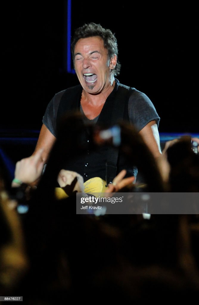 Bruce Springsteen and the E Street Band perform on stage during Bonnaroo 2009 on June 13, 2009 in Manchester, Tennessee.