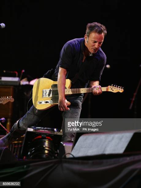 Bruce Springsteen and the E Street band performing during the 2009 Glastonbury Festival at Worthy Farm in Pilton Somerset