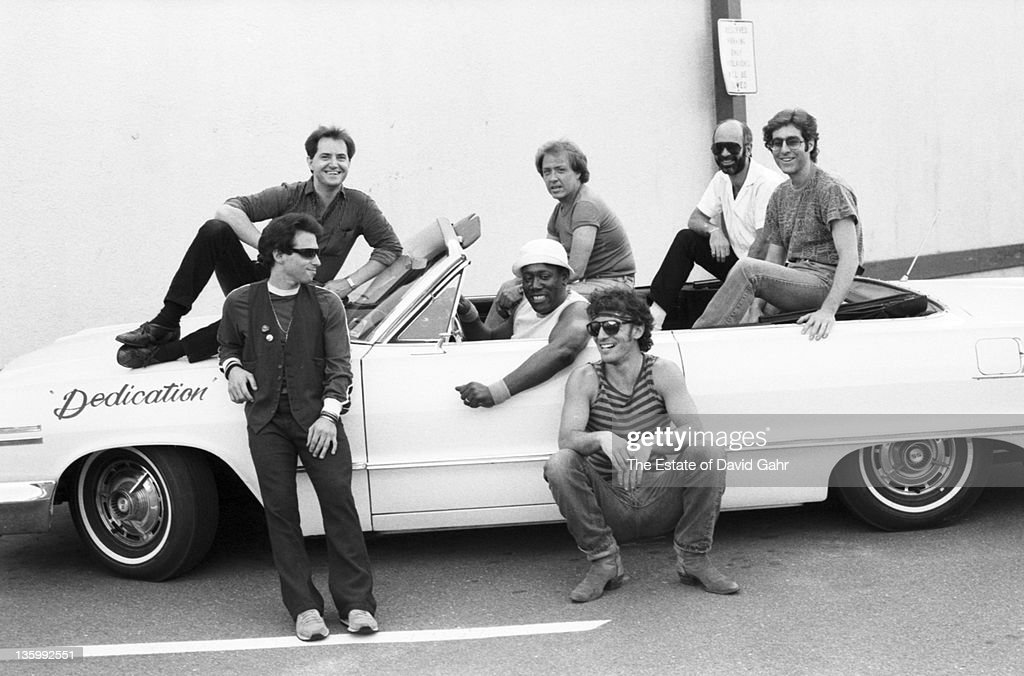 Bruce Springsteen and the E Street Band, (clockwise from top left: Garry Tallent, Danny Feberici, Roy Bittan, Max Weinberg, Bruce Springsteen, Clarence Clemons and Nils Lofgrin) pose for a portrait in June 1984.