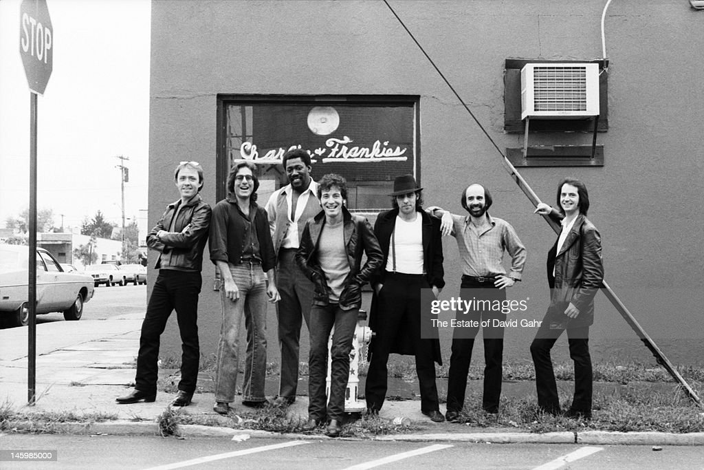 Bruce Springsteen and the E Street Band (L - R Danny Federici, Max Weinberg, Clarence Clemons, Bruce Springsteen, Steve Van Zandt, Roy Bittan, Garry Tallent) pose for a portrait on October 17, 1979 in Red Bank, New Jersey.