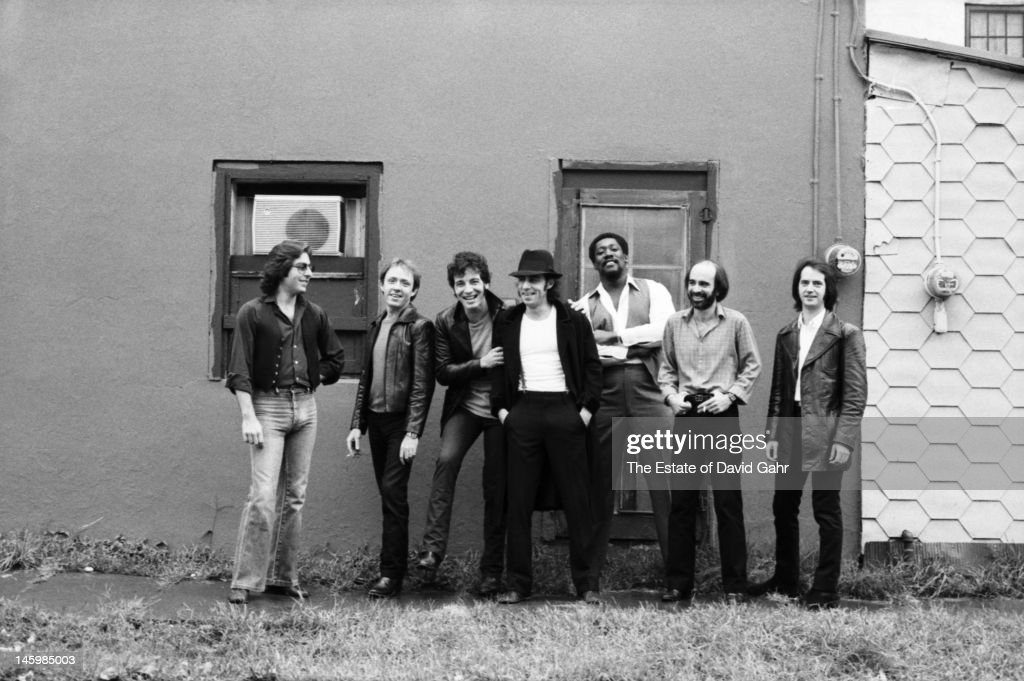 Bruce Springsteen and the E Street Band (L - R Max Weinberg, Danny Federici, Bruce Springsteen, Steve Van Zandt, Clarence Clemons, Roy Bittan, Garry Tallent) pose for a portrait on October 17, 1979 in Red Bank, New Jersey.