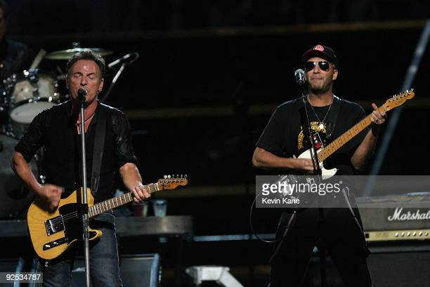 Bruce Springsteen and Tom Morello perform onstage at the 25th Anniversary Rock Roll Hall of Fame Concert at Madison Square Garden on October 29 2009...