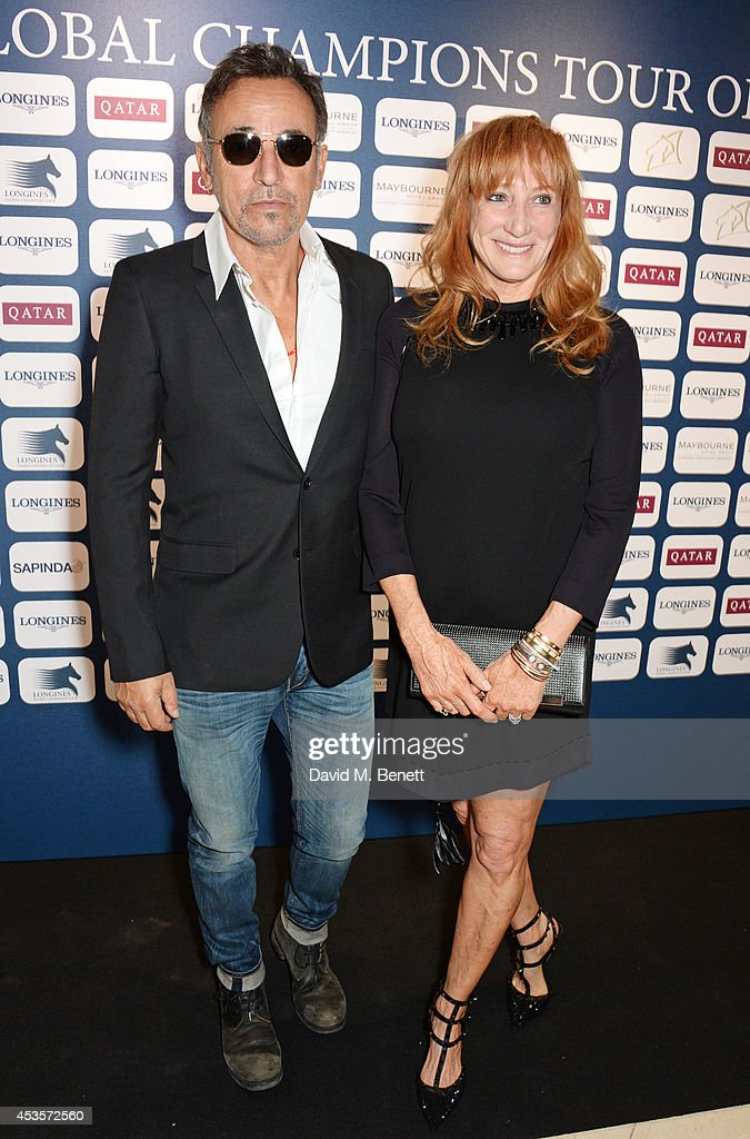 <a gi-track='captionPersonalityLinkClicked' href=/galleries/search?phrase=Bruce+Springsteen&family=editorial&specificpeople=123832 ng-click='$event.stopPropagation()'>Bruce Springsteen</a> (L) and wife <a gi-track='captionPersonalityLinkClicked' href=/galleries/search?phrase=Patti+Scialfa&family=editorial&specificpeople=228282 ng-click='$event.stopPropagation()'>Patti Scialfa</a> attend the 2014 Longines Global Championships Tour party at Claridge's Hotel on August 13, 2014 in London, England.