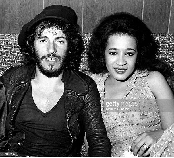 Bruce Springsteen backstage at the Bottom Line Club in New York with Ronnie Spector on August 13 1975 during his Born To Run tour