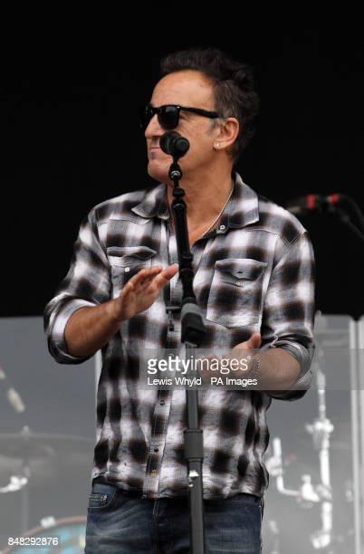 Bruce Springsteen introduces John Fogerty at the Hard Rock Calling music festival in Hyde Park London PRESS ASSOCIATION Photo Picture date Saturday...