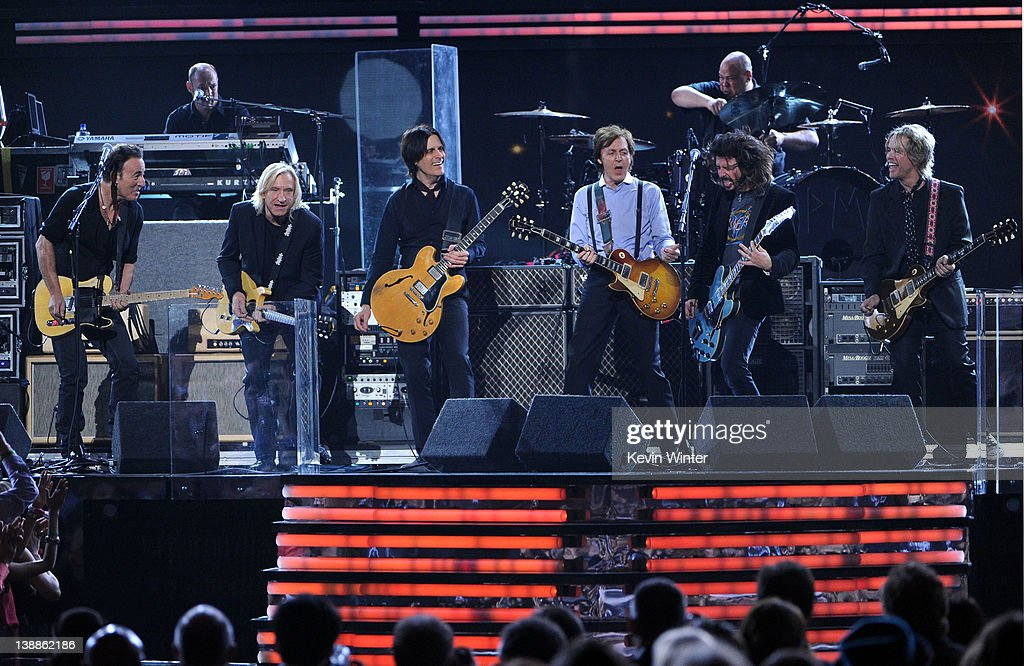 Bruce Springsteen, Joe Walsh, Rusty Anderson, Paul McCartney, Dave Grohl and Brian Ray perform onstage at the 54th Annual GRAMMY Awards held at Staples Center on February 12, 2012 in Los Angeles, California.