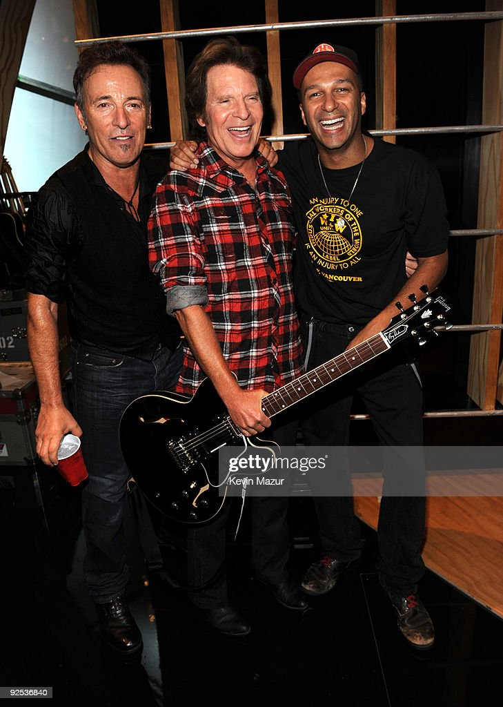 *EXCLUSIVE* Bruce Springsteen, John Fogerty and Tom Morello attends the 25th Anniversary Rock & Roll Hall of Fame Concert at Madison Square Garden on October 29, 2009 in New York City.