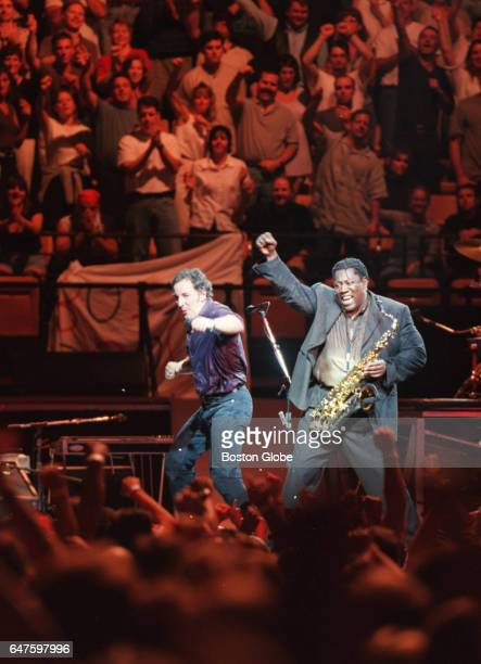 Bruce Springsteen left performs with saxophonist Clarence Clemons at the Fleet Center in Boston on Aug 27 1999