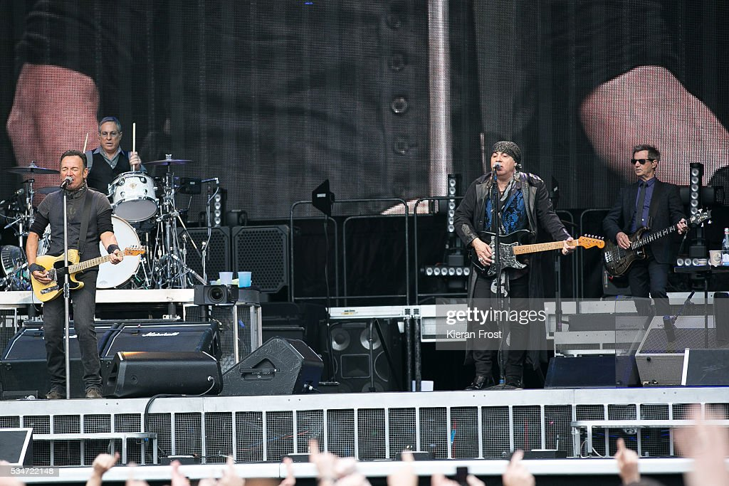 Bruce Springsteen, Max Weinberg, Steven Van Zandt and Garry Tallent performs with the E Street Band at Croke Park Stadium on May 27, 2016 in Dublin, Ireland.