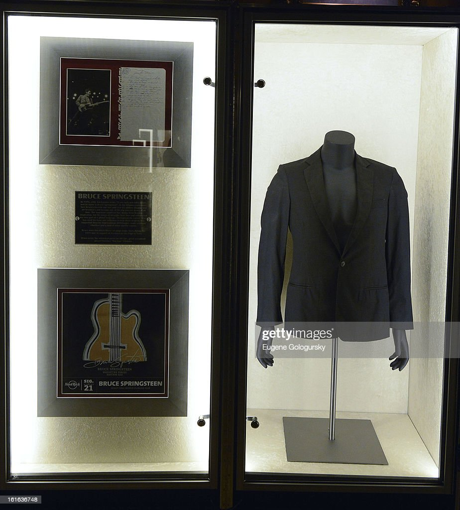Bruce Springsteen memorabilia at the 'Gone Too Soon' and 'Music Gives Back' Media Preview Day at the Hard Rock Cafe, Times Square on February 13, 2013 in New York City.