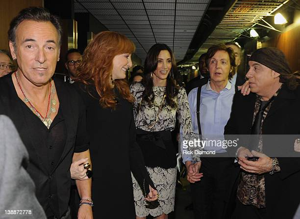 Bruce Springsteen Patti Scialfa Nancy Shevell Paul Maccartney and Steven Van Zandt at The 54th Annual GRAMMY Awards Backstage at Staples Center on...