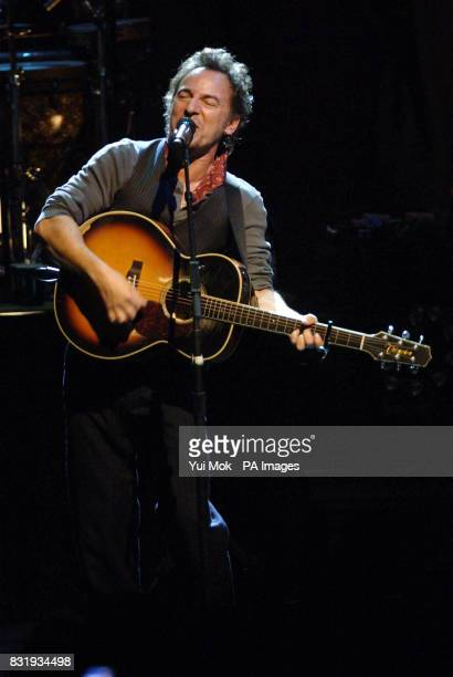 Bruce Springsteen performing on stage at the Hammersmith Apollo in west London