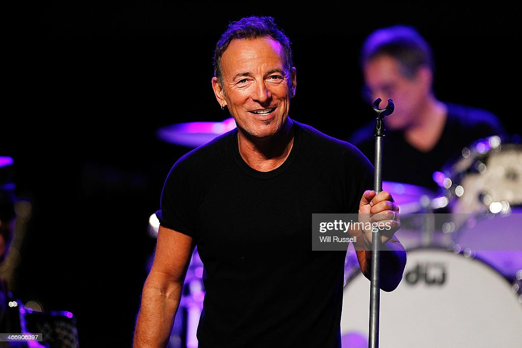 Bruce Springsteen performs at a sound check before speaking to media during a press conference at Perth Arena on February 5, 2014 in Perth, Australia. Bruce Springsteen and the E Street Band will be touring Australia in 2014 beginning with Perth.