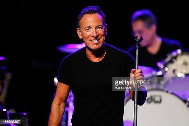 Bruce Springsteen performs at a sound check before speaking to media during a press conference at Perth Arena on February 5 2014 in Perth Australia...