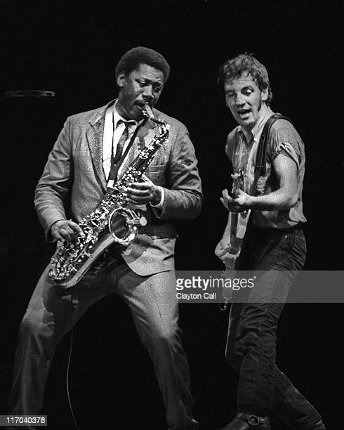 Bruce Springsteen performs at the Oakland Coliseum Arena on October 28 1980 Clarence Clemons Bruce Springsteen