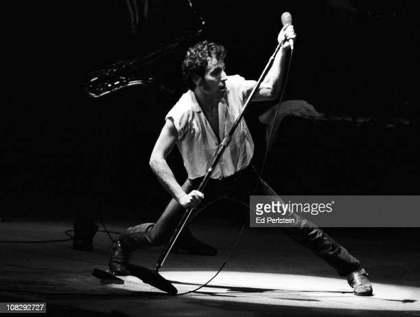 Bruce Springsteen performs at the Oakland Coliseum in October 1981 in Oakland California