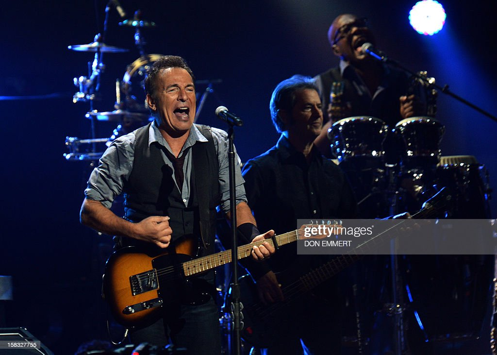Bruce Springsteen performs during '12-12-12 The Concert For Sandy Relief' December 12, 2012 at Madison Square Garden in New York.