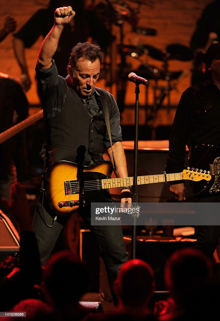 Bruce Springsteen performs during SiriusXM's celebration of 10 years of satellite radio with a concert by Bruce Springsteen and The E Street Band at...
