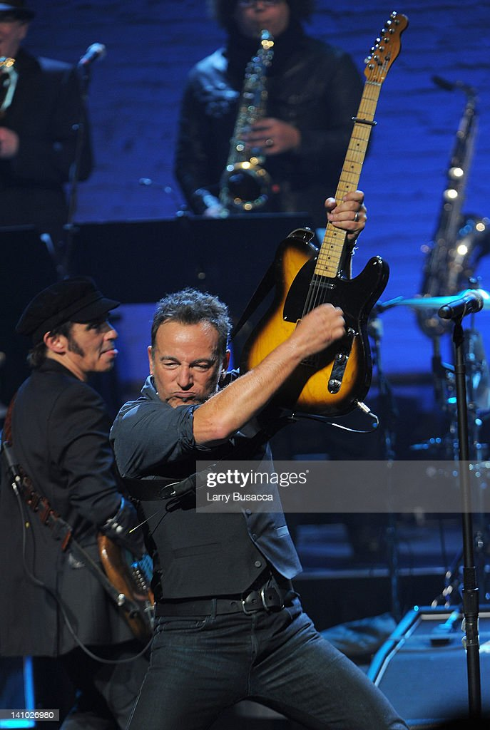 Bruce Springsteen performs during SiriusXM's concert celebrating 10 years of satellite radio at The Apollo Theater on March 9 2012 in New York City