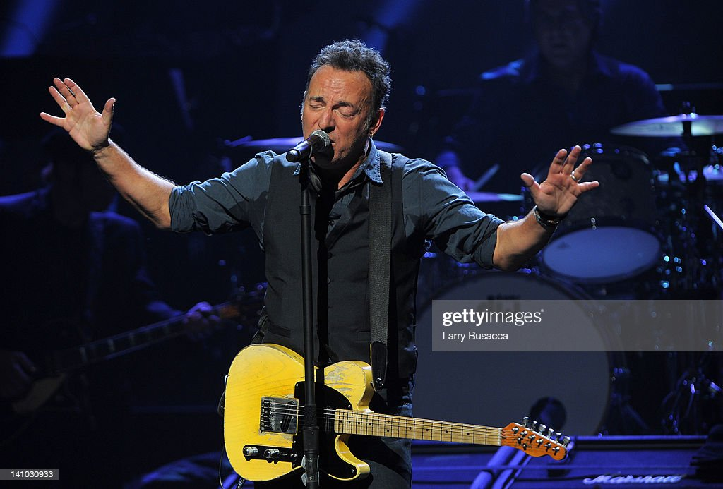 Bruce Springsteen performs during SiriusXM's concert celebrating 10 years of satellite radio at The Apollo Theater on March 9, 2012 in New York City.