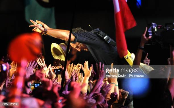 Bruce Springsteen performs during the 2009 Glastonbury Festival