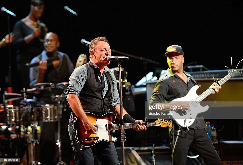 Bruce Springsteen performs for fans with the E Street Band during his Wrecking Ball Tour at Brisbane Entertainment Centre on March 14, 2013 in Brisbane, Australia.