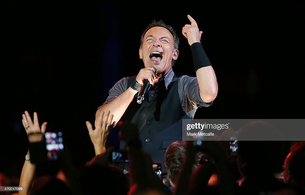 <a gi-track='captionPersonalityLinkClicked' href=/galleries/search?phrase=Bruce+Springsteen&family=editorial&specificpeople=123832 ng-click='$event.stopPropagation()'>Bruce Springsteen</a> performs live on stage with the E Street Band at Allphones Arena on February 19, 2014 in Sydney, Australia.
