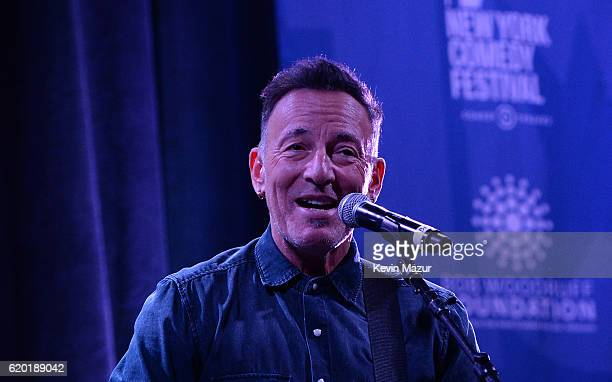 Bruce Springsteen performs on stage as The New York Comedy Festival and The Bob Woodruff Foundation present the 10th Annual Stand Up for Heroes event...