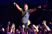 Bruce Springsteen performs on stage at the Los Angeles Memorial Sports Arena at Exposition Park on March 17 2016 in Los Angeles California