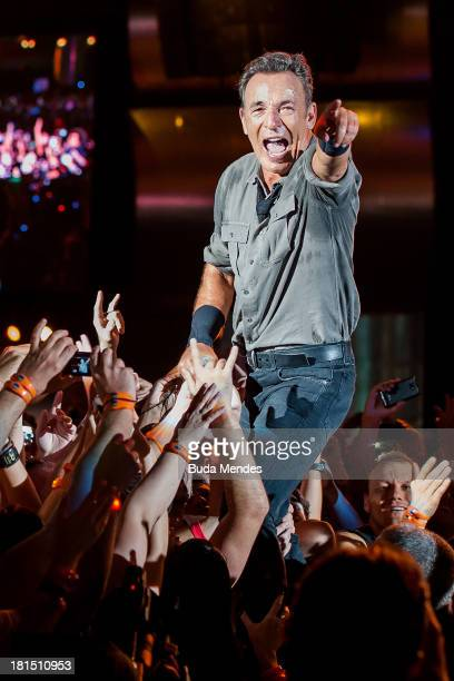 Bruce Springsteen performs on stage during a concert in the Rock in Rio Festival on September 21 2013 in Rio de Janeiro Brazil