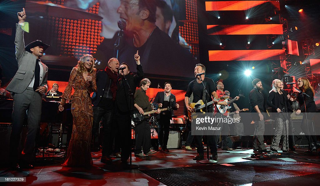 Bruce Springsteen performs onstage at MusiCares Person Of The Year Honoring Bruce Springsteen at Los Angeles Convention Center on February 8, 2013 in Los Angeles, California.